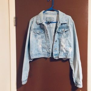 Rue 21 Distressed Cropped Jean jacket ( XL)